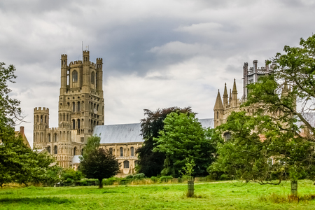 Ely Cathedral as seen from Cherry Hill Park Stok Fotoğraf
