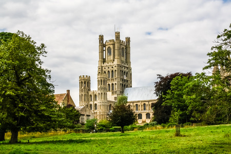 View of Ely Cathedral across Cherry Hill Park Stok Fotoğraf