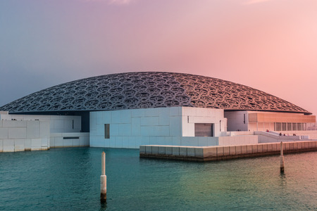 Abu Dhabi, United Arab Emirates, October 7, 2018: Louvre Abu Dhabi in the evening light.