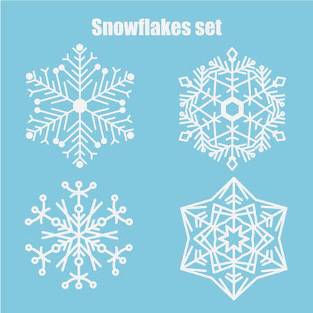 Vector set of snowflakes on a blue background. Snowflake icons. Vector illustration of white snowflakes collection isolated on blue background.