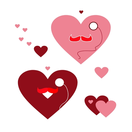 Vector illustration. A set of funny hearts with a mustache and monocle.