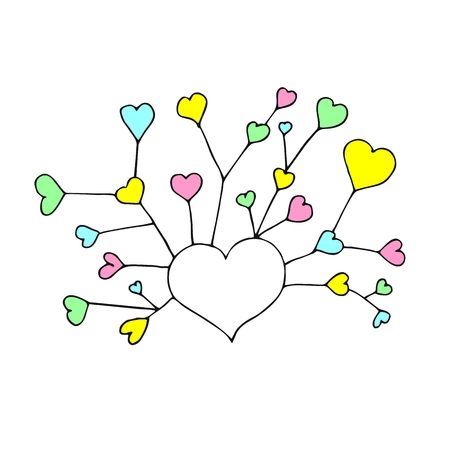 Vector illustration. Branching hearts. Multicolored cute hearts. Tenderness. Growing love.