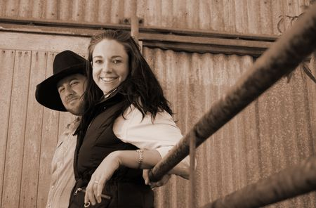 Sepia shot of a young Farming couple photo