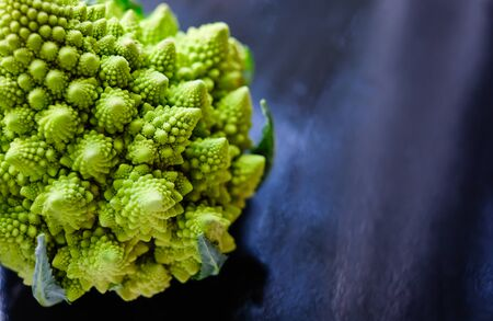 Close up view of amazing Romanesco broccoli or Roman cauliflower on wet dark blue background. Its form is a natural approximation of a fractal.