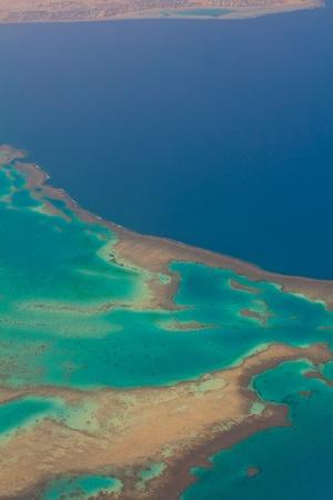 barrier island: Coral reef aerial view  Sinai  Tiran