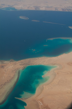 barrier island: Coral reef aerial view  Sinai  Tiran island Stock Photo
