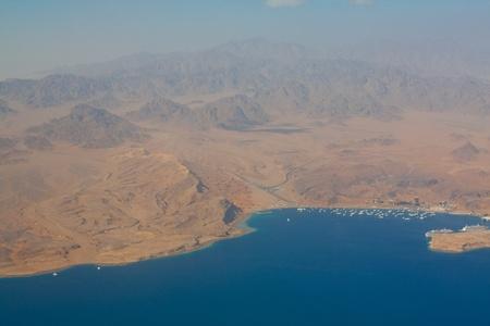 barrier island: Sinai desert aerial view Stock Photo