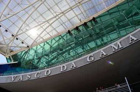 Vasco Da Gama shopping center with a glass roof  Lisbon  Portugal
