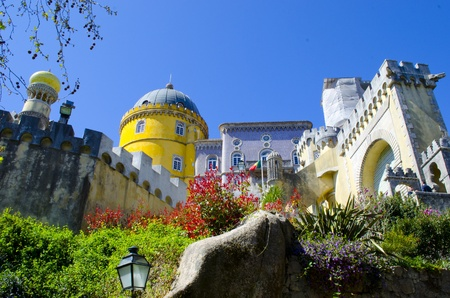 Pena Palace in flowers, famous MUSEUM in Portugal National Sintra park