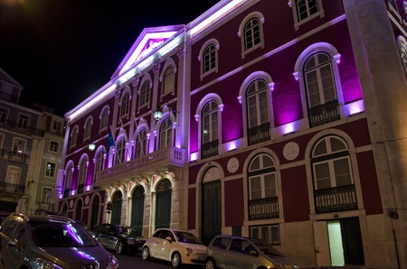 Teatro da Trinidad night - Theatre of Threes - Lisbon - Portugal Editorial