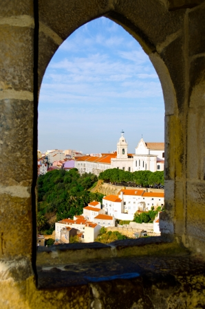 Lisbon  Historical part of Lisbon old city in a window of old castle Stock Photo
