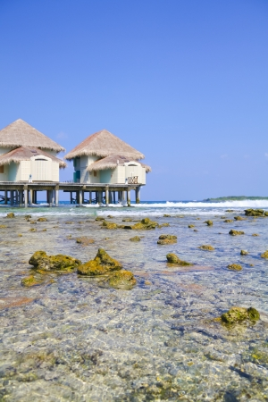 Tropical water bungalow  Stock Photo