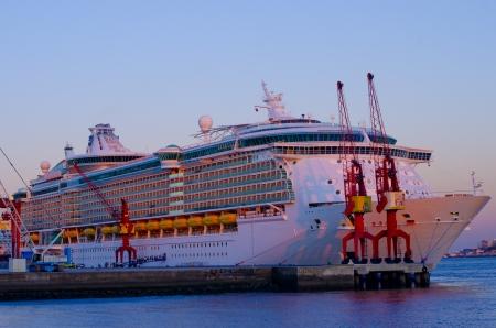 Cruise liner at sunset NO LOGO