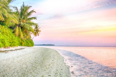 Sunrise at tropical palm beach Foto de archivo