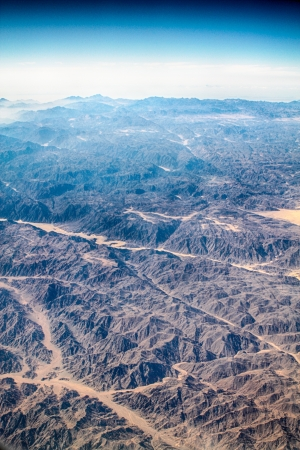 Sinai desert, mountains and blue sky  Aerial view