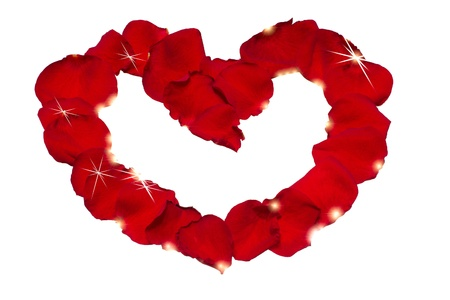 Rose petals heart with shining glow of stars Stock Photo