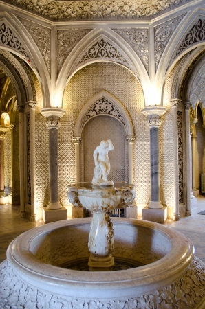Beautiful fountain inside Monserrate in Sintra  Portugal museum Editorial