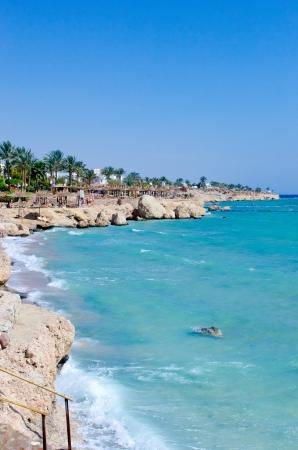 Beautiful palm beach, splash sea waves and blue sky  Ras Um Sid  Stock Photo