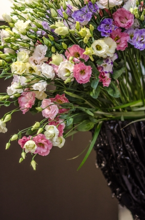 Bouquet of lisianthus flowers  Wedding background decoration with beautiful colorful lisianthus flowers