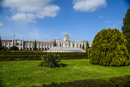 Monastery of Jeronimos in Lisboa with fountain