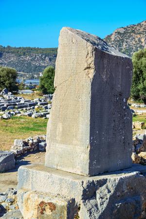 The Xanthos Obelisk, a trilingual inscribed pillar in the Lycian, Xanthos, Lycia, Turkey Foto de archivo