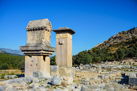 Harpy tomb monument at Xanthos ruins. Turkey.