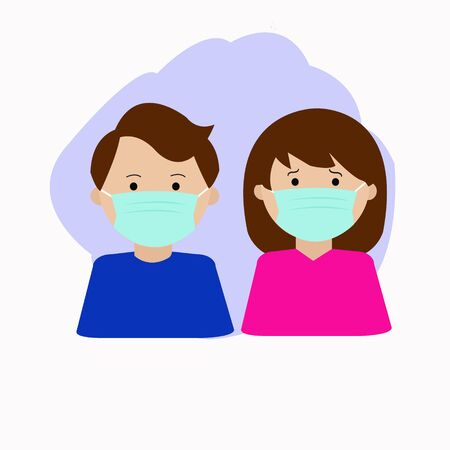 A couple wearing protection mask. Surgical mask 일러스트