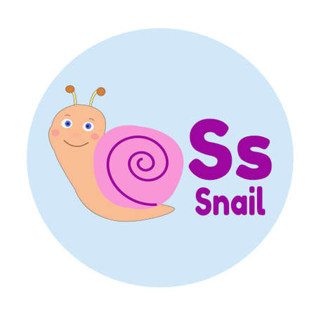 Animal Alphabet S Snail Cartoon Illustration Vector