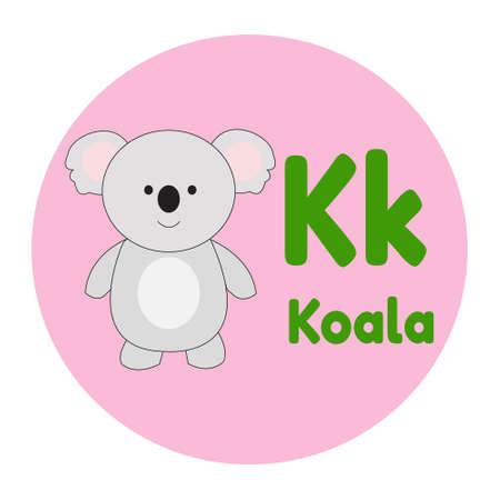 Animal Cartoon Alphabet K Koala Vector Illustration 일러스트