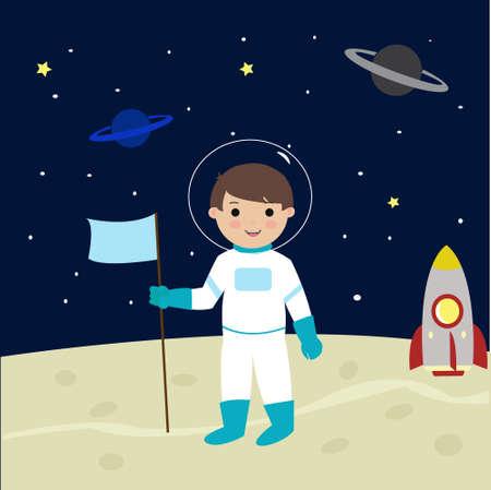 Kid Astronaut Landing On Moon Cartoon Vector Illusztráció