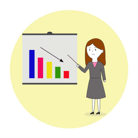 Business Graphic Down Presentation By Girl With Sad Face Illustration Vector