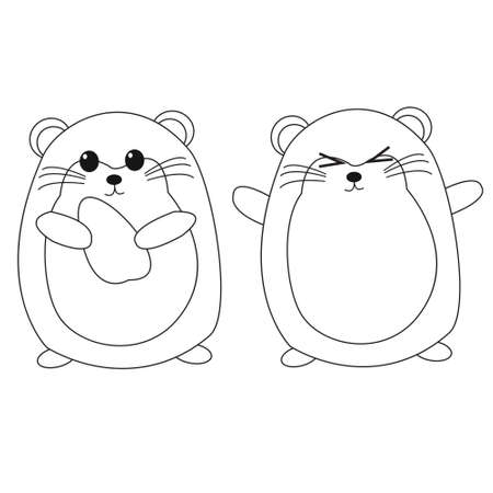 Coloring Page Vector Hamster Theme Illustration For Kids Illustration