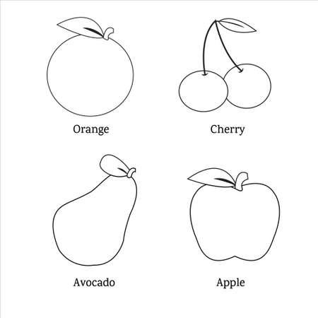 Fruit outline for coloring book illustration vector Ilustração