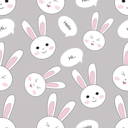 Illustration Vector Graphic of rabbit head Seamless Pattern