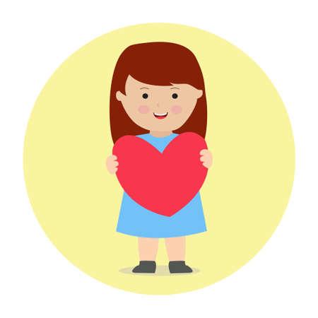 Little Girl Holding Heart Love Cushion Cartoon Illustration Vector Graphic Ilustração