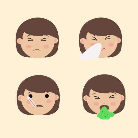 Set Cute Girl Emoticon Sick Emoji Vector Vettoriali