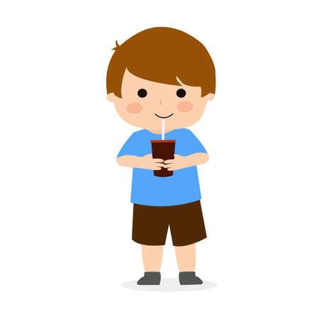Little Boy Drink Ice Chocolate Illustration Vector