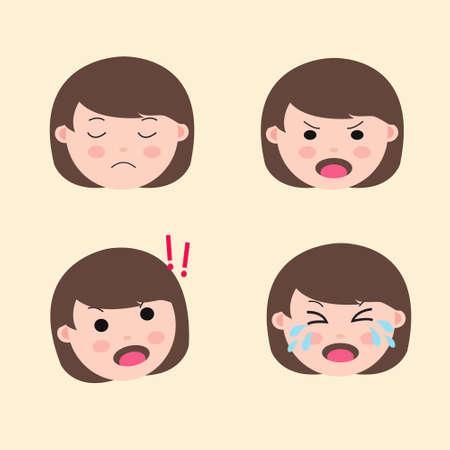 Set Cute Girl Emoticon Negative emotion Vector