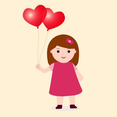 Little Girl Holding Heart Love Balloon Vector Vectores