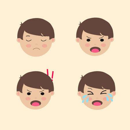Set Cute Boy Emoticon Negative emotion Vector