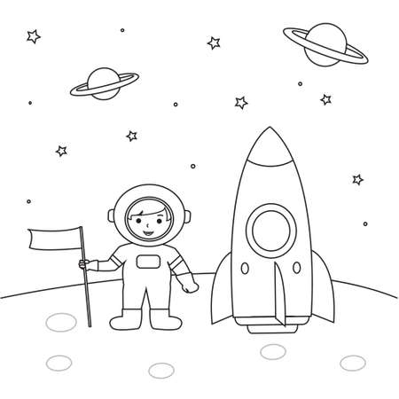Astronaut outline coloring pages for kids Illustration Vector