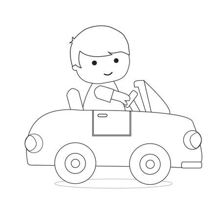Little Boy Driving Car Outline Coloring Book for Kid Illustration Vector 向量圖像