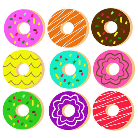 Set Donuts Illustration Vector