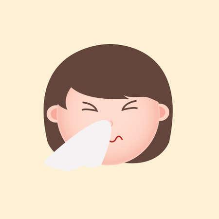 Cute Girl Head Sick Flu Emoji Cartoon Illustration Vector