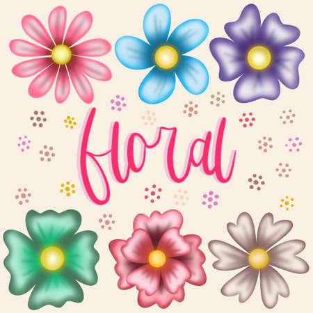 Pack de seis lindas flores ilustraDas