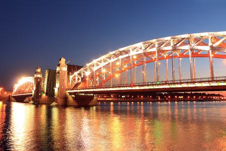 neva: Bridge across the Neva River at night