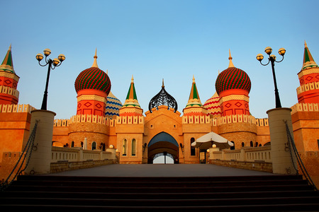 domes: Multi-colored domes against the background blue sky. Arabian architecture.