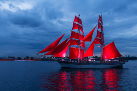 brig: Brig with scarlet sails goes on the Neva. Stock Photo