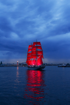 scarlet: Brig with scarlet sails goes on the Neva. Stock Photo