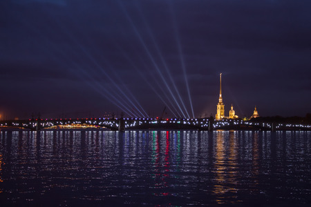neva: Laser show on the Neva. Summer night.